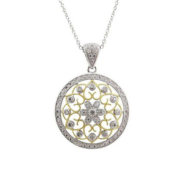 Gold Plated 925 Silver Pendants Necklace Fashion Jewelry
