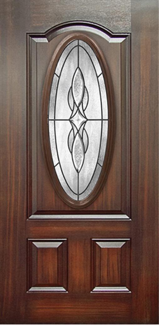 Mahogany 3 Panel Fiberglass Door