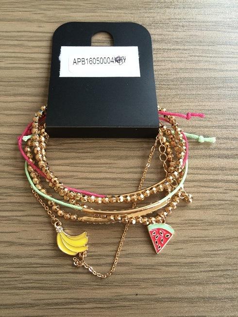 Set of Acrylic Beads Bracelet/Bangle with Fabric Fashion Jewelry