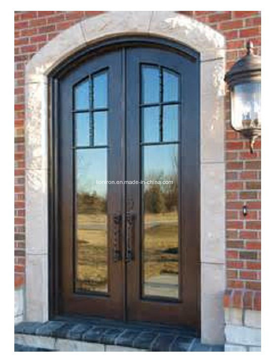 Exterior Security Door with Wrought Iron and Glass