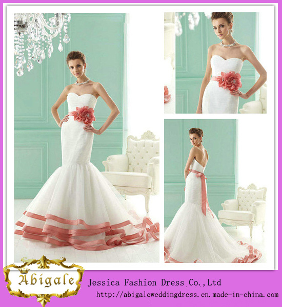 2015 Sexy Mermaid Sweetheart Sleeveless Floor Length with Hand-Made Flower Sash Tulle Red and White Wedding Dresses (HS074)