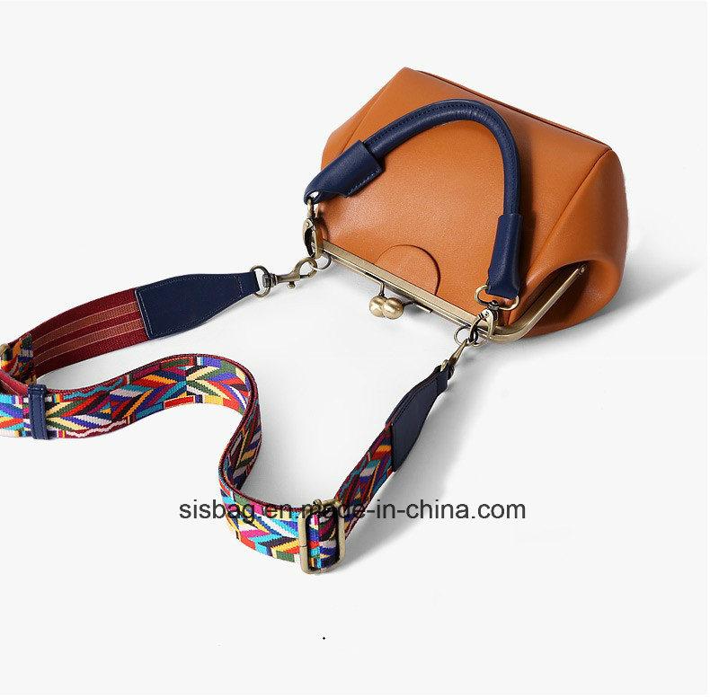 Vintage Metal Frame Crossbody Bag Wide Straps Satchel Bag