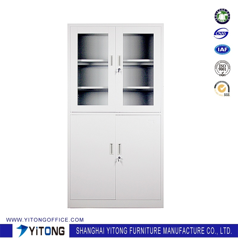 4-Door 2-Glass Door Metal Storage Cabinet / Office Use Steel File Cabinet