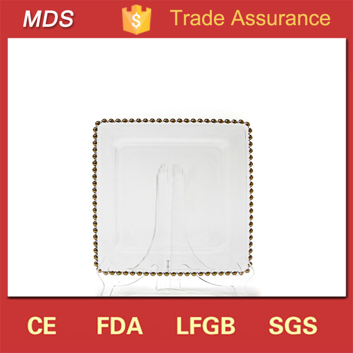 New Design Glass Square Gold Belmont Beads Charger Plate Dinnerware