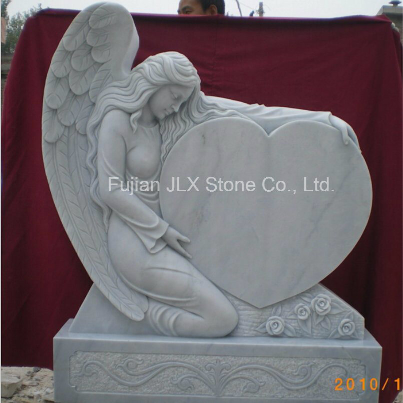 White Marble Angel Sculpture Heart Tombstone for Sale