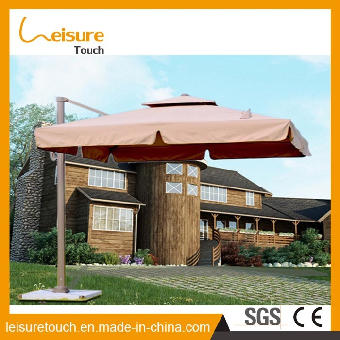 Square Polyester Top Roman Umbrella with Aluminium Alloy Frame Coffee Shop Outdoor Two Layer Chinese Parasol