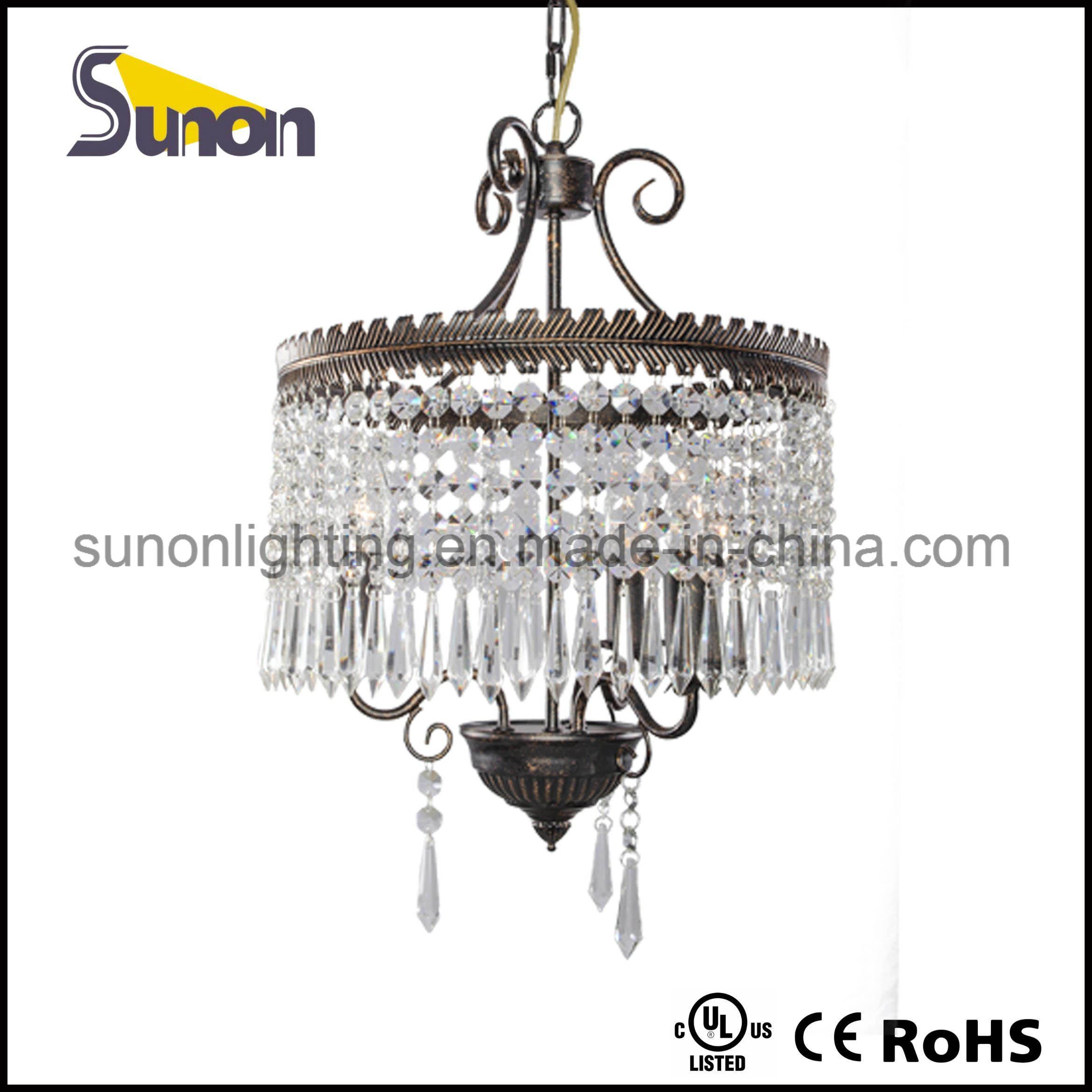 Mini Glass Crystal Swag Chandelier Lighting with 3 Lights