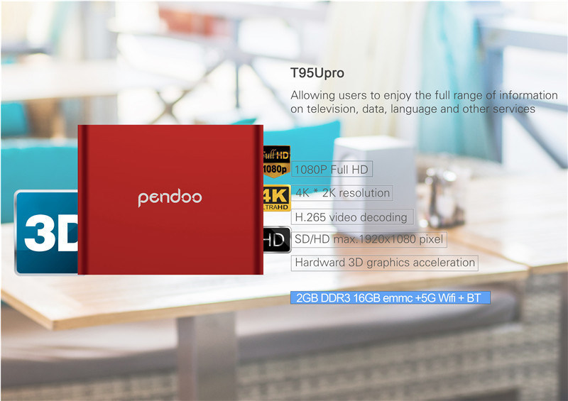 2016 Pendoo T95u PRO Amlogic S912 Android 6.0 TV Box Octa Core 2g RAM 16GB ROM Kodi 17.0 Pre-Installed Smart Box