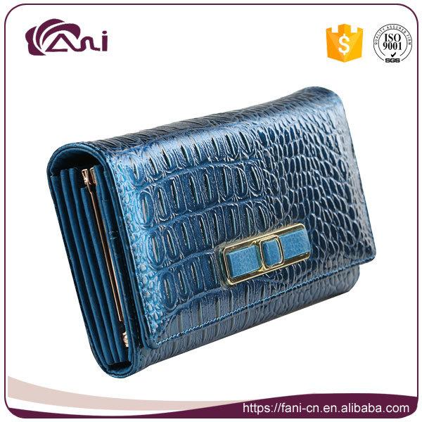 Fancy Purses for Women, Fancy Wallet, Blue Genuine Leather Lady Wallet