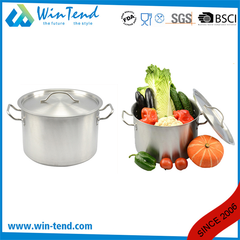 03 Style Stainless Steel Kitchen Equipment Steamer Induction Stock Pot with Sandwich Bottom