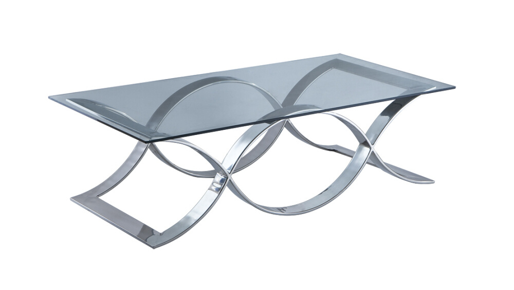 Stainless Steel Coffee Table, Glass Top Coffee Table T-42