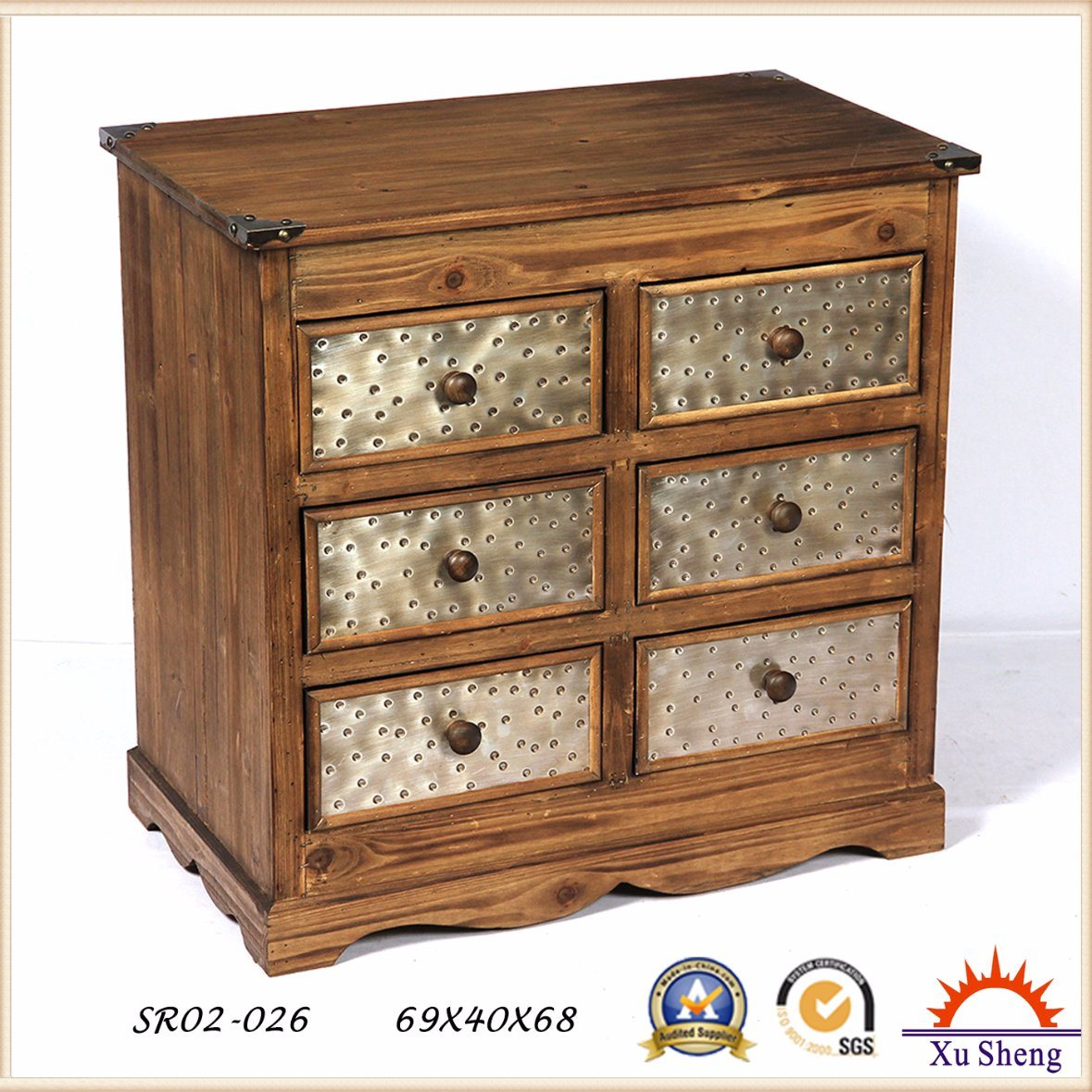 Wooden Cabinet Shabby Chic Furniture Multi-Drawer
