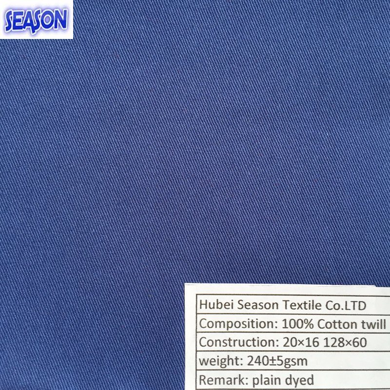Cottonj 20*16 128*60 240GSM Dyed Twill Cotton Fabric Textile