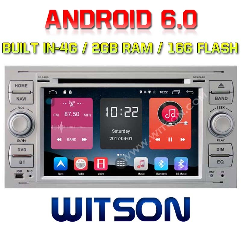 Witson Quad-Core Android 6.0 Car DVD Player for Ford Focus 2g RAM Bulit in 4G 16GB ROM