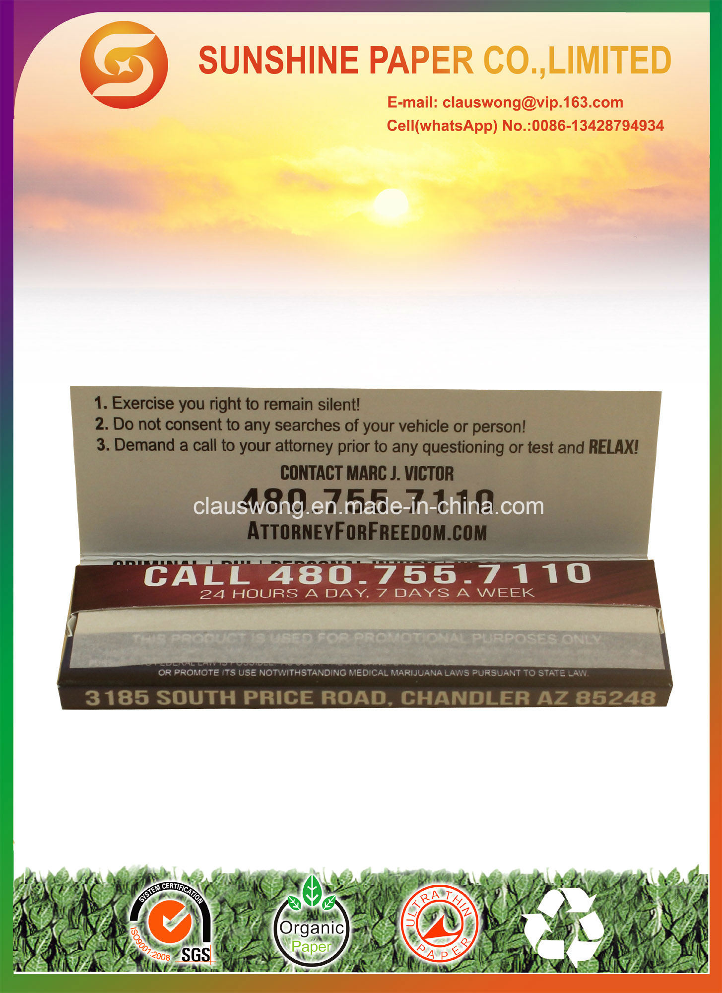13GSM 100% Hemp Cigarette Paper with 1 1/4 Size