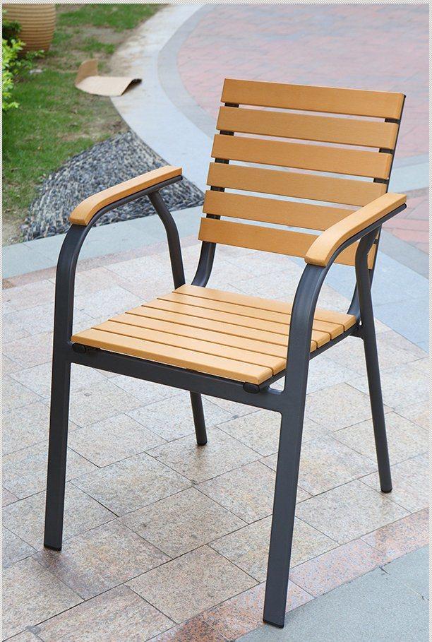 Patio Gaden Furiture Aluminum Plastic Wood Table Arm Chair with Teak Color (J805)