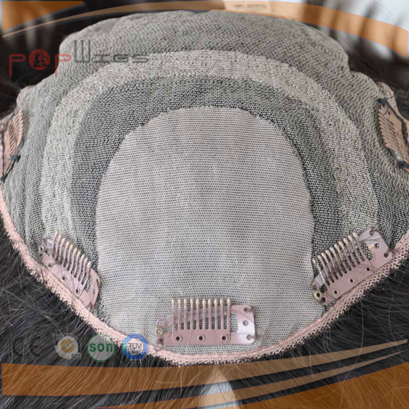 Human Hair Toupee, Clip in Jewish Kosher Silk Top Topper Hair Piece