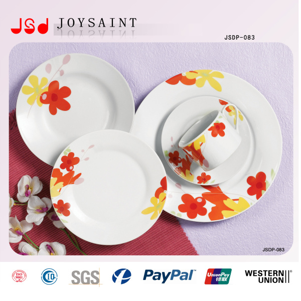 Flower Decal Round Ceramic Porcelain 18PCS Dinnerware