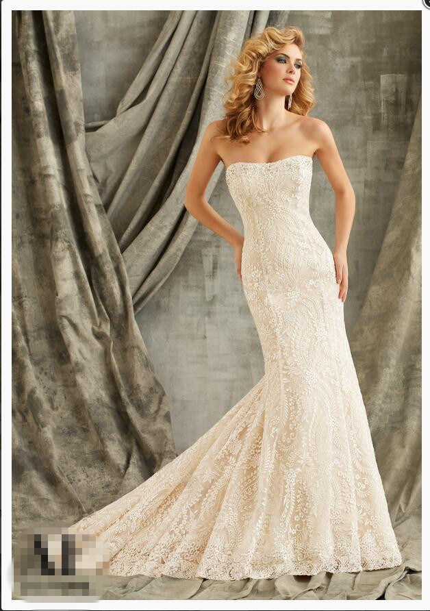 2016 Strapless Lace Mermaid Bridal Wedding Gowns Wd1349