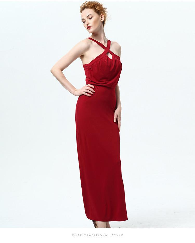Summer New Lady Sleeveless Halter Dress Sexy Halter Strap Female High Waist Thin Skirt Dress Factory