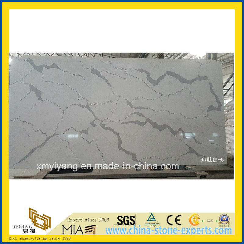 Custom White Calacatta Artifical Quartz Stone Countertop for Kitchen, Island