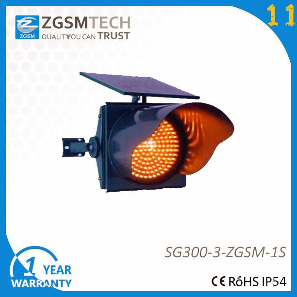 300mm Yellow Flashing Traffic Light with Solar Panel