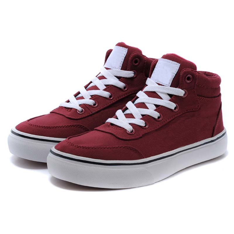 High Cut Branded Style Breathable Burgundy Canvas Footwear with Laces