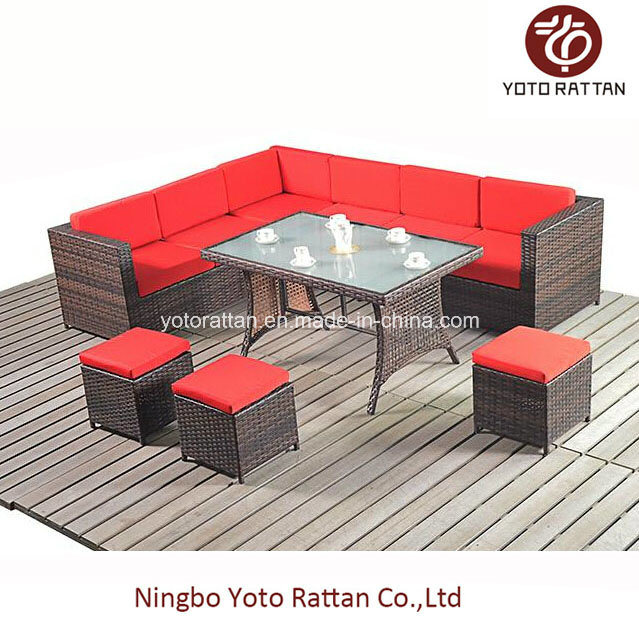 Steel Table Corner Sofa Set 1003 Red