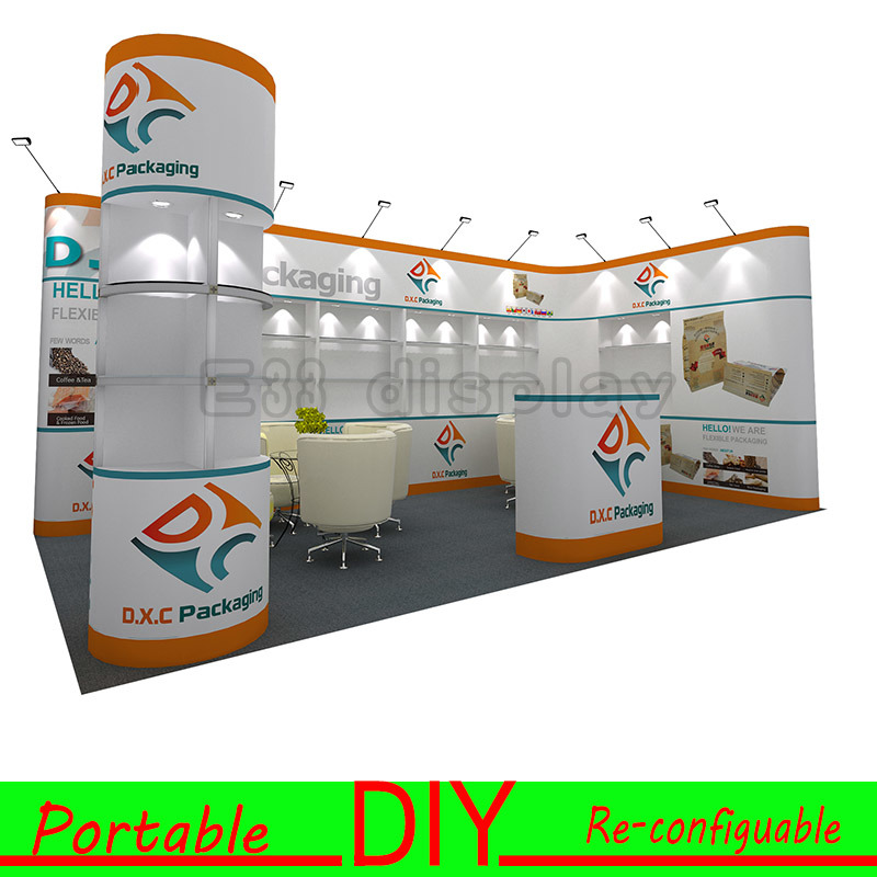 Custom Portable Modular Trade Show Exhibition Stall Design 8FT 10FT