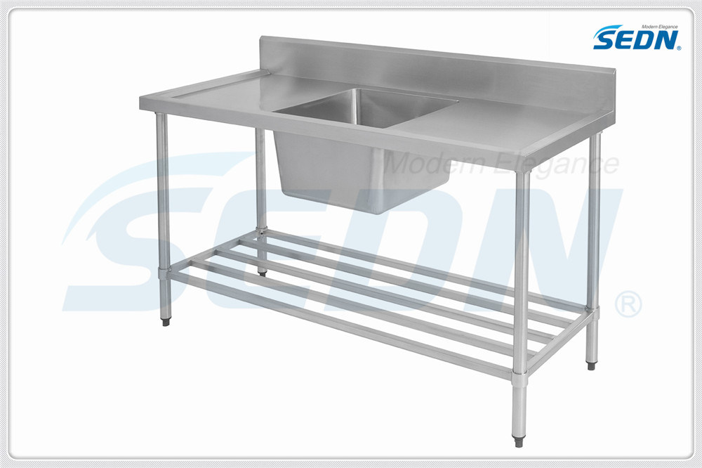 Handmade Commercial Stainless Steel Single Bowl Splashback Sink Benches (MF1003)
