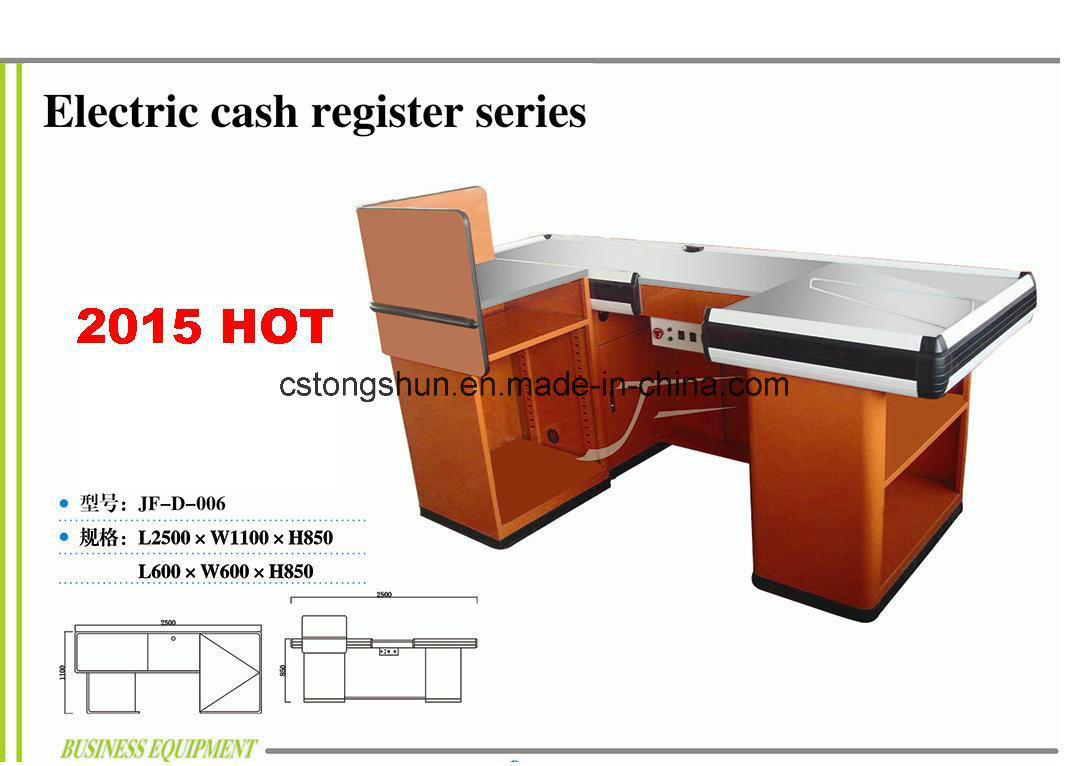 Upscale Cash Check out Counter/Desk with Electric Motor Conveyor