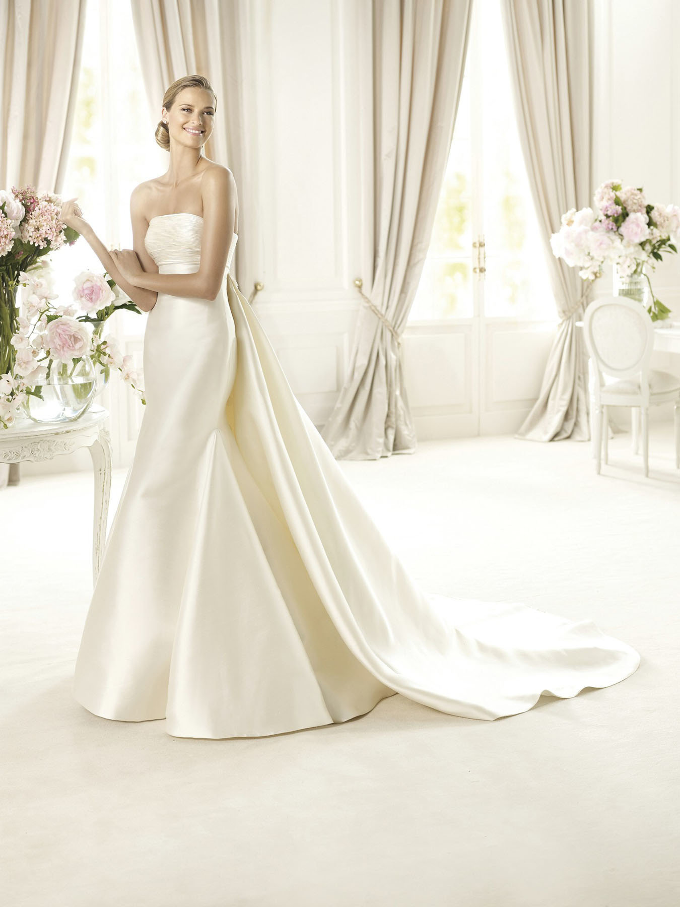 China simple ivory mermaid pleat satin wedding bridal gown for Simple ivory wedding dresses