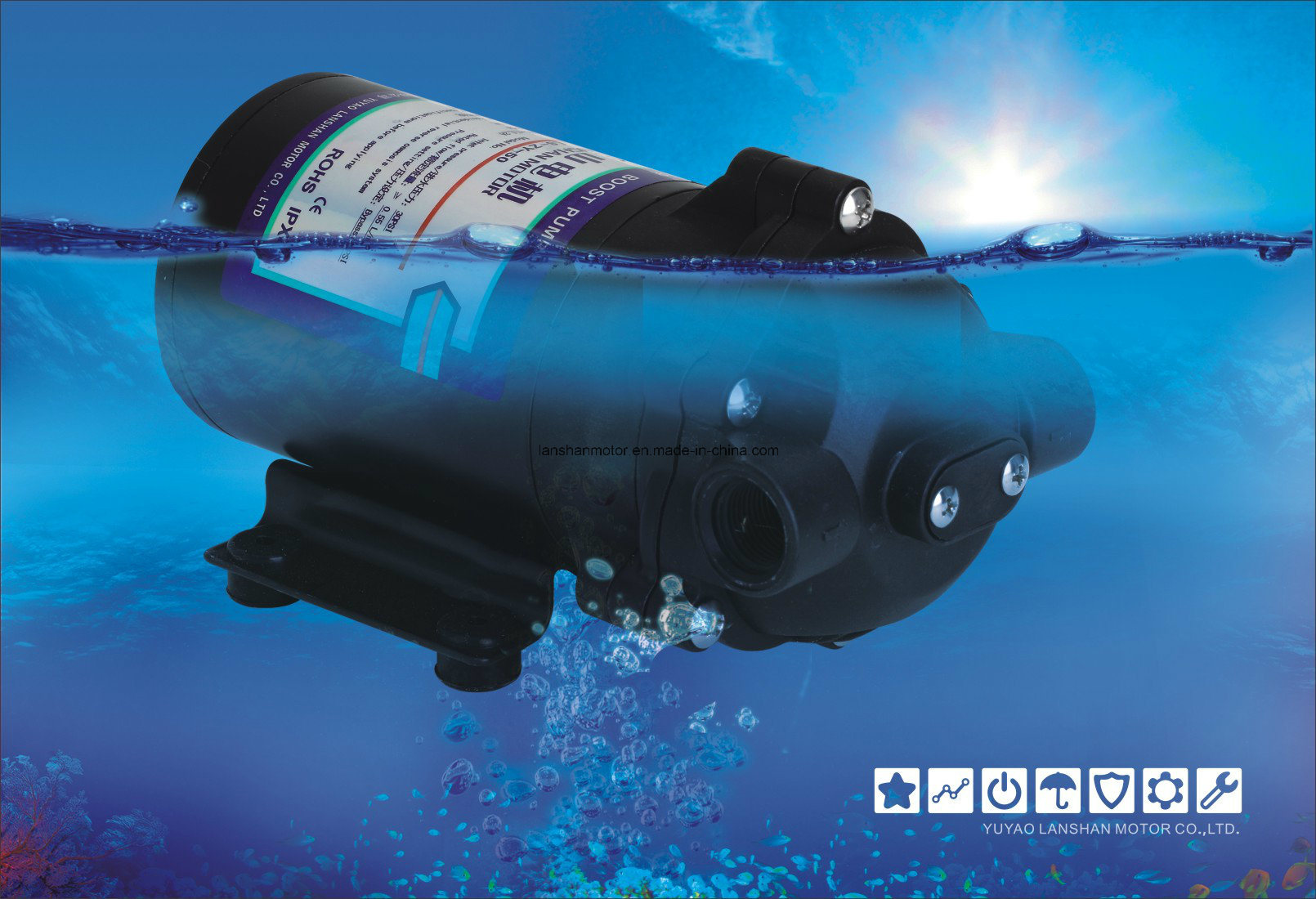 Lanshan 200gpd Diaphragm RO Booster Pump 0 Inlet Pressure Water Pump