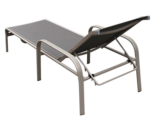 Outdoor Patio Furniture Set Adjustable Aluminum Chaise Lounge Chair with Textilene Serene Ridge