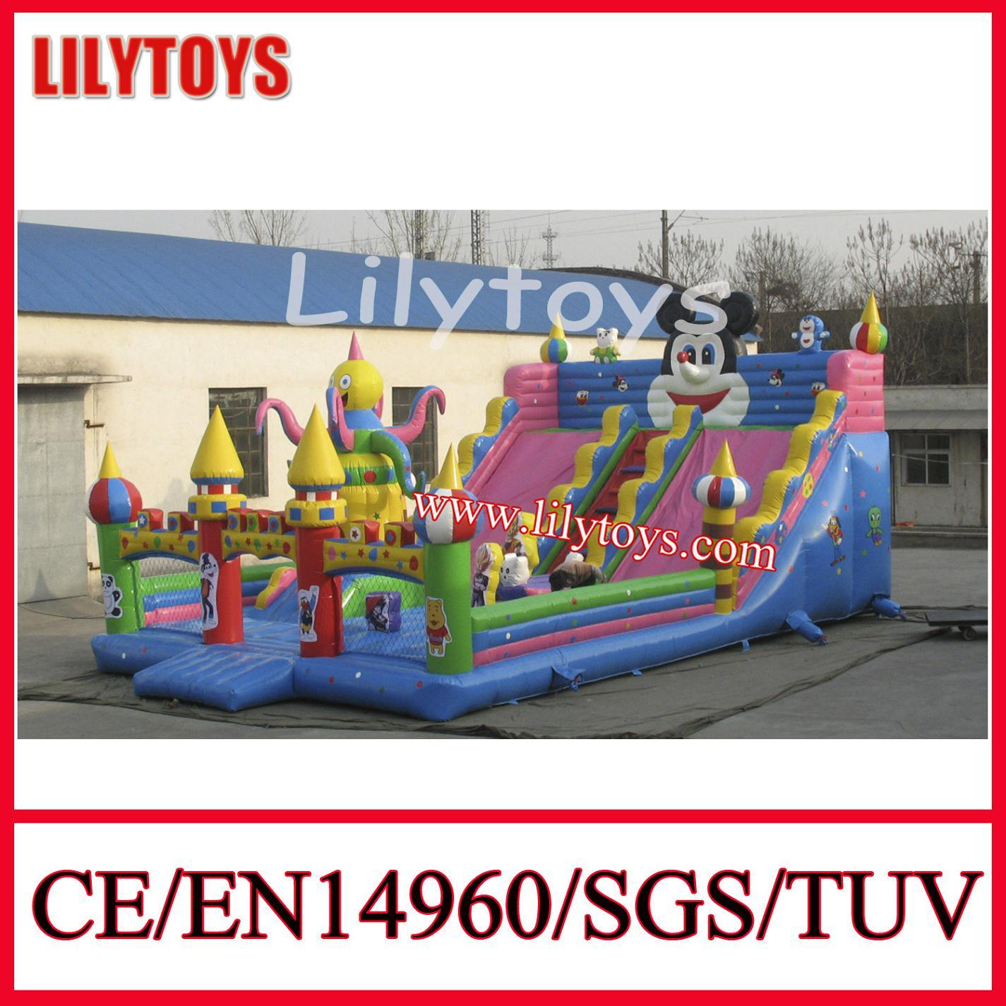 Giant PVC Material Inflatable Fun City Slide Inflatable Castle for Amusement Park (J-IFCT-001)