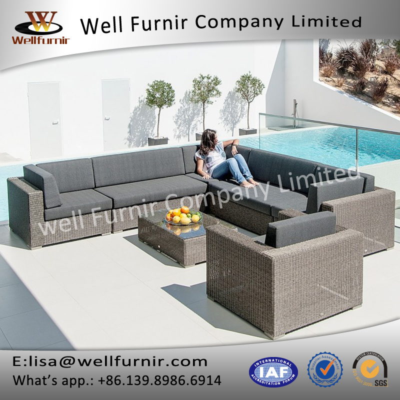 Well Furnir T-003 Grey Shower Proof Round Synthetic Weave Rattan Sofa