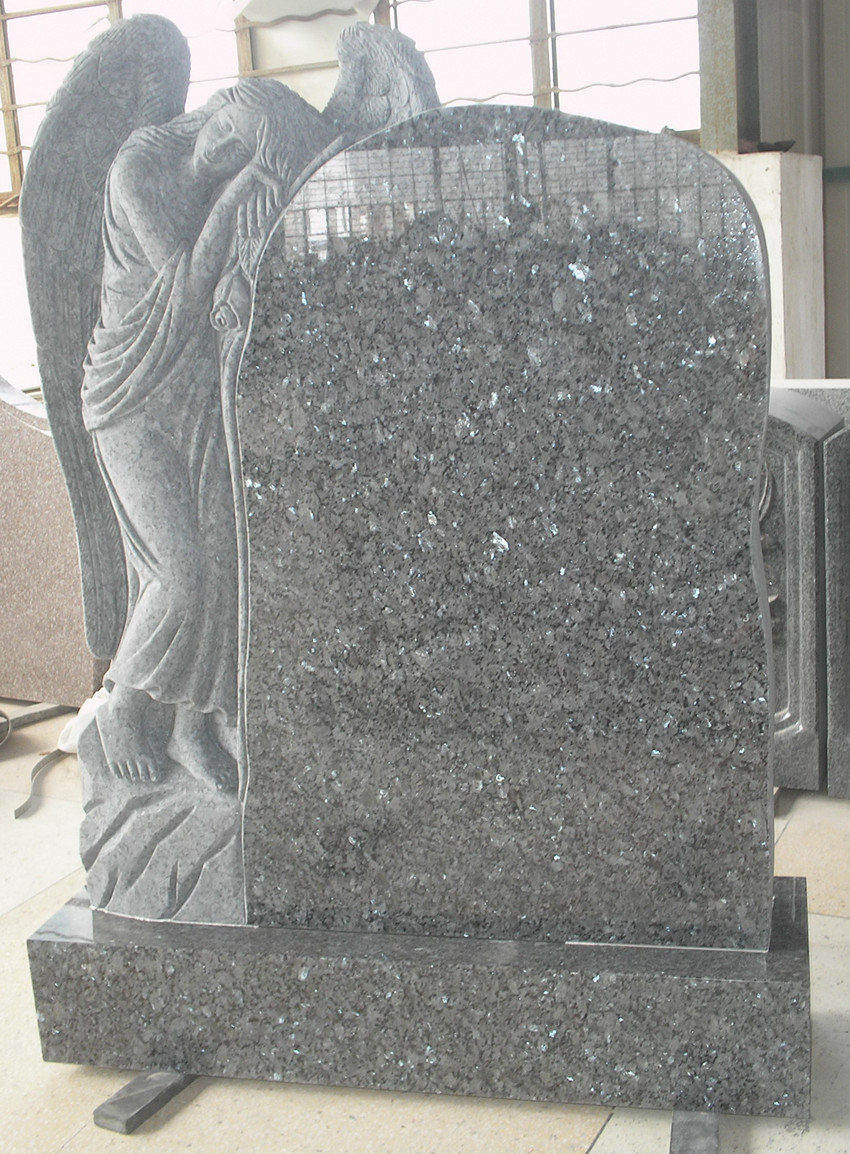 Stone Headstone with Angel Engraving