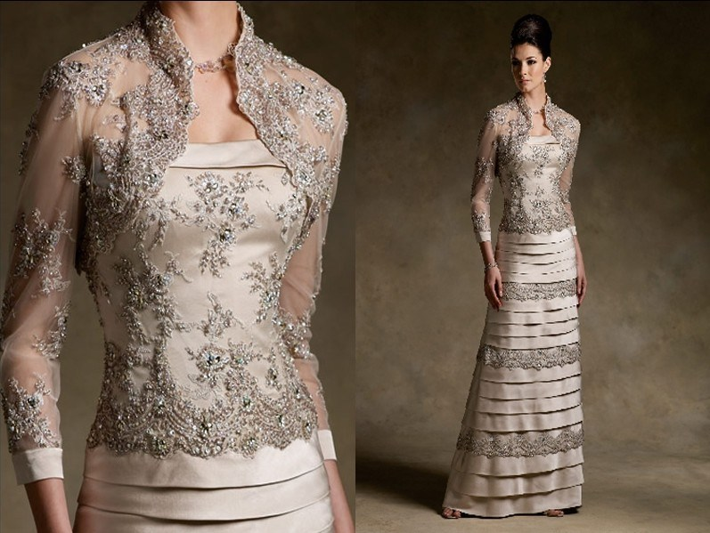 China Champagne Lace Satin Mother Of The Bride Dresses