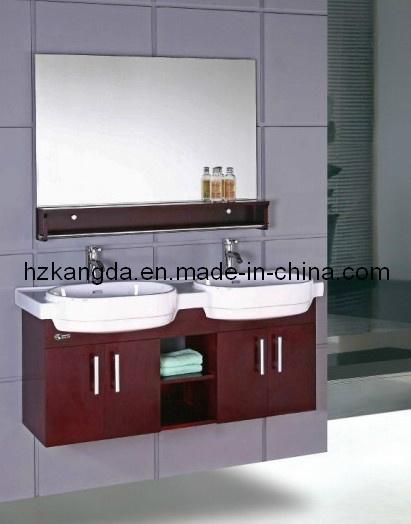 Lavabos Dobles Para Baño:de cuarto de baño sólido de Wood/PVC fijado con los lavabos dobles