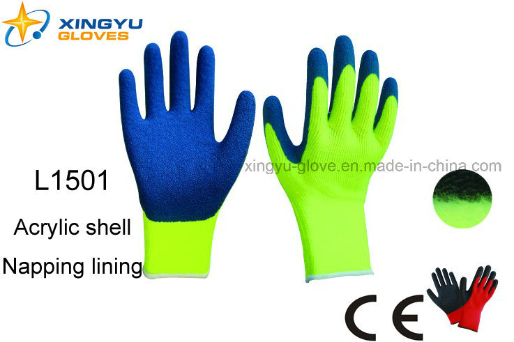 Acrylic Shell Napping Lining Latex Coated Safety Work Glove (L1501)