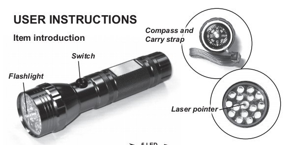 15LED Aluminium Laser Flashlight with Compass (CWL-6068)