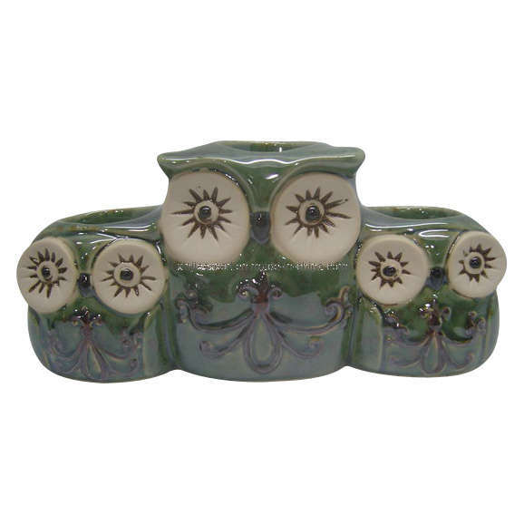 China Ceramic Green Owl Tealight Holder China Candle