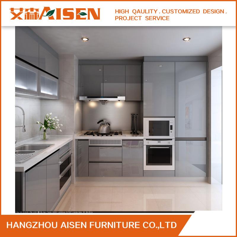 Grey Lacquer Handle-Less Design Polyurethane Kitchen Furniture