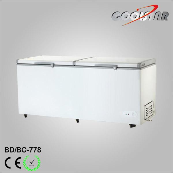 Double Temperature Large Capacity Top Open Door Mobile Chest Freezer