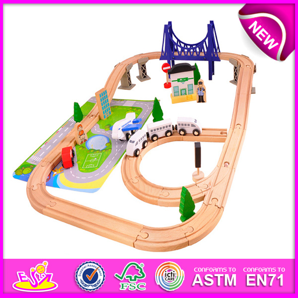 Hot New Product for 2015 Kids Toy Wooden Train Railway Set Toy, Wooden Toy Children Toy Railway Set Toy (WITH 70PCS) W04c019