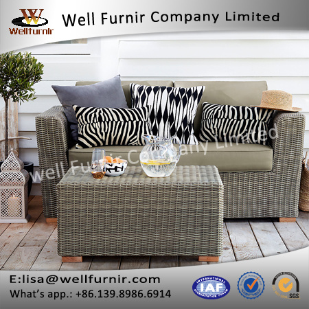 Well Furnir T-041 Grey Color Rattan Sofa with Waterproof Cushion