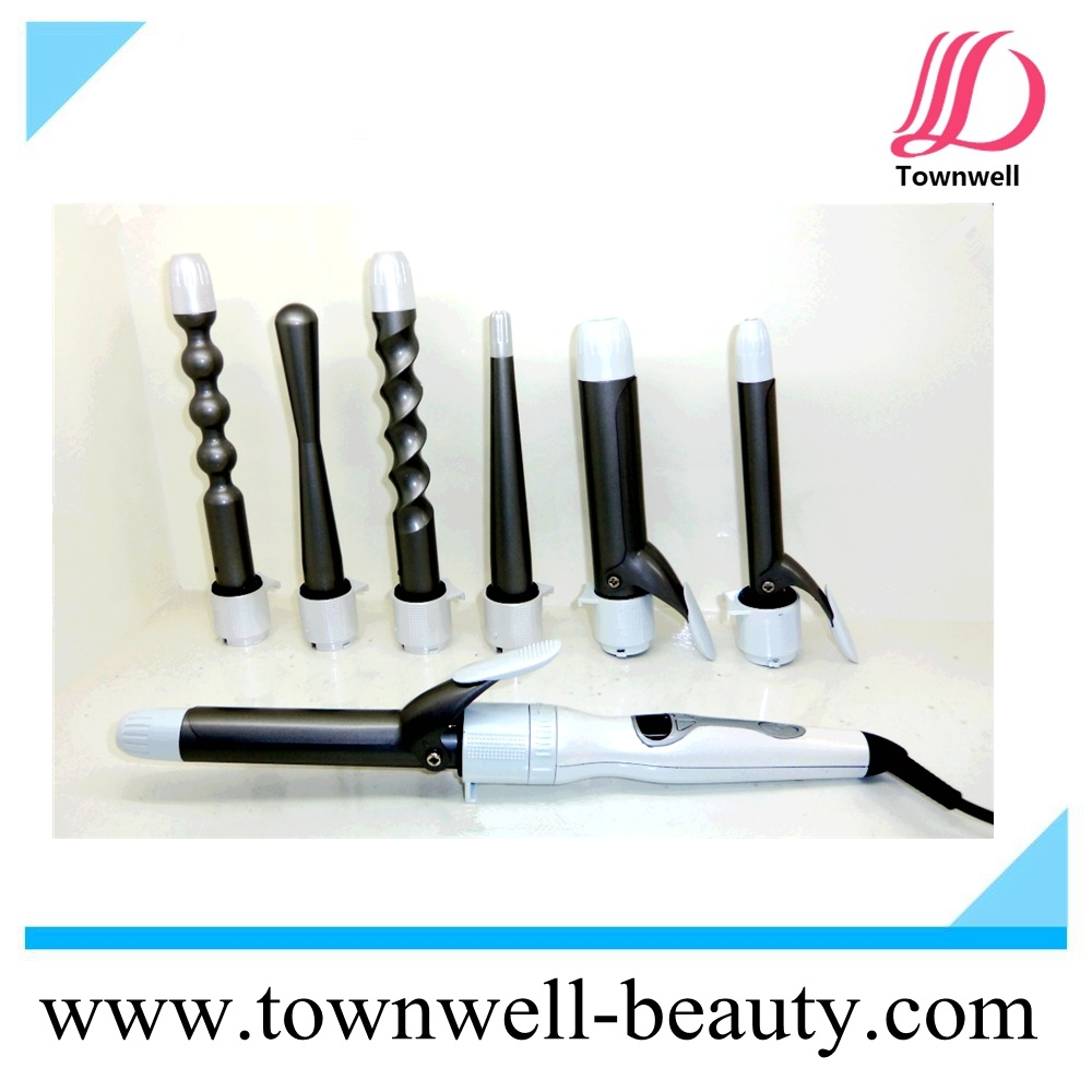 8 in 1 Interchangeable Digital Hair Curler with LCD Display 3 in 1