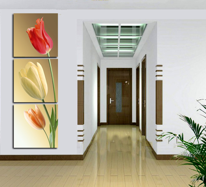 Framed Art Print Picture Wall Art Home Decorative Tulips Painting 3 Piece Canvas Art Free Shipping Mc-188