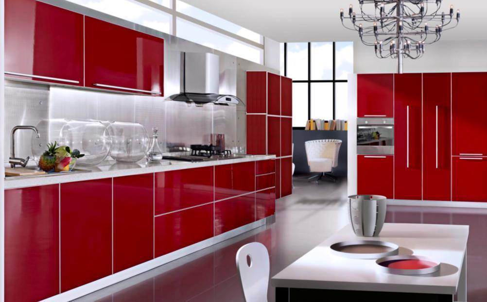 China red lacquered kitchen cabinets ml 014 china for Red kitchen designs photo gallery
