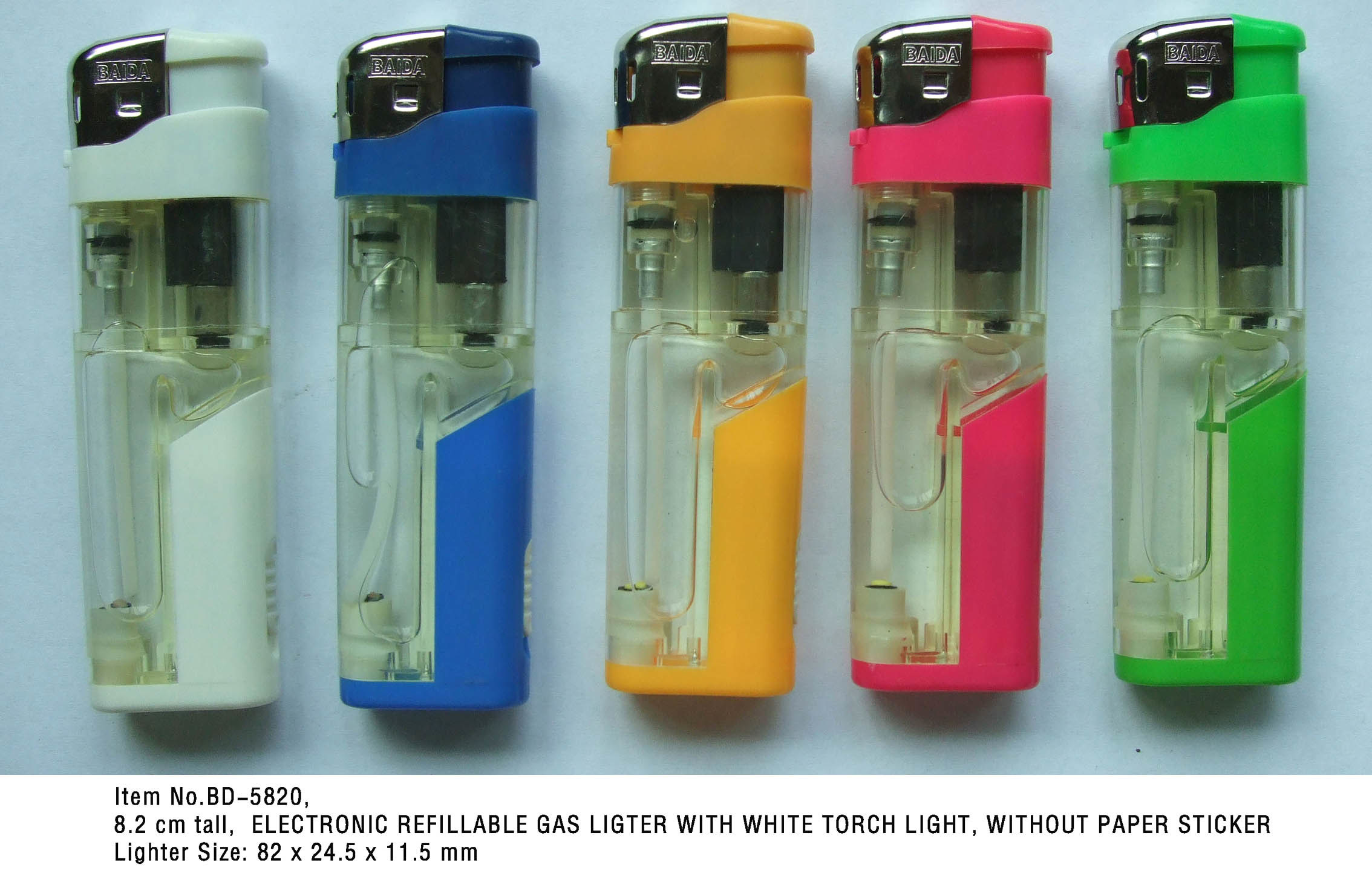 (Item No. BD-5820) Electronic Refillable Gas Lighter With LED, Baida Lighter